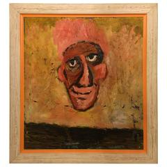 "Large Frame Oil on Masonite Entitled ""The Nose"""