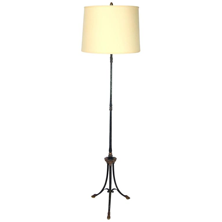 Hollywood Regency Wrought Iron and Brass Floor Lamp