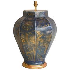Lamped Japanese 17th Century Blue Glazed Arita Vase with Gilt Decoration