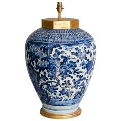 Large Lamped Late 17th Century Japanese Octagonal Blue and White Arita Vase