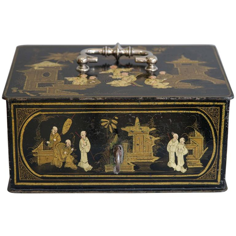 19th Century Black and Gold Chinoiserie Strong Box For Sale