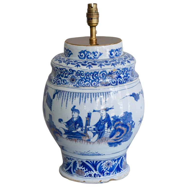 17th Century Lamped Delft Blue & White Vase with Manganese Highlights For Sale