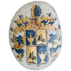 18th Century Painted Coat of Arms on Metal