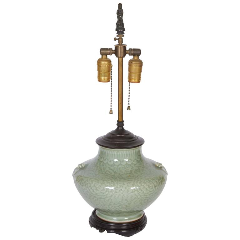 Chinese Celadon Vase Fitted as a Lamp 1