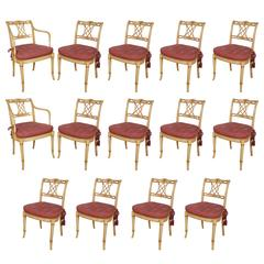 Set of 14 Custom-Made Regency Style Parcel-Gilt and Painted Dining Chairs