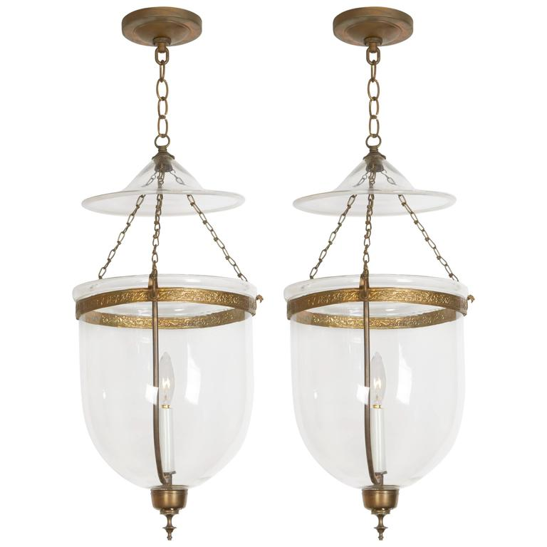 Pair of George III Style Brass Hall Lanterns For Sale