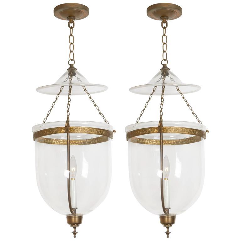 Pair of George III Style Brass Hall Lanterns 1