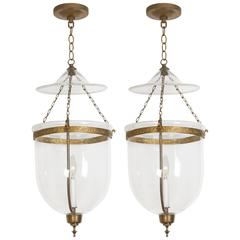 Pair of George III Style Brass Hall Lanterns