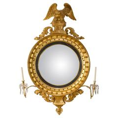 19th Century Gilt Wood Convex Mirror with Candle Design Lights