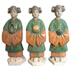 Important Ancient Chinese Trio Handmade Glazed Attendants Ming Dynasty