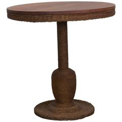 1900 American Wicker and Wood Pedestal Table