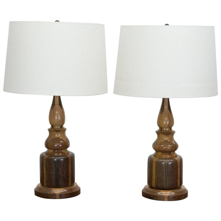 Pair of Mixed Wood Inlaid Lamps with Linen Shades