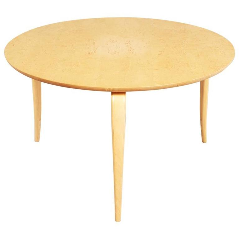 Bruno Mathsson 1950s Round U201cAnikau201d Coffee Table In Birchwood For Sale