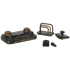 19th Century Bronze and Marble Desk Set