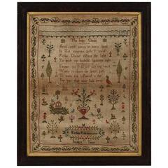19th Century Irish Needlework Embroidery Sampler