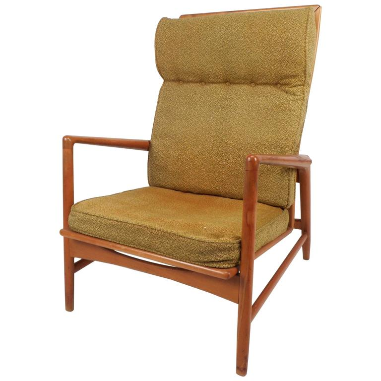 Mid Century Modern Reclining High Back Lounge Chair by Ib Kofod