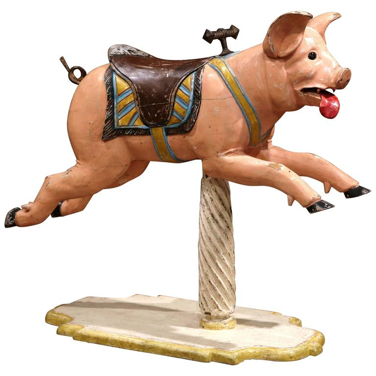 19th Century French Carved Painted Carousel Pig with Glass Eyes on Wooden Stand