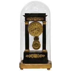 19th Century French Four-Columns Empire Mantel Clock with Original Glass Dome