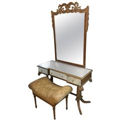 A Grosfeld House Style Drapery Form Mirror and Mirrored Vanity Desk