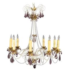 Mid-Century Painted Metal Chandelier with Amethyst Colored Glass