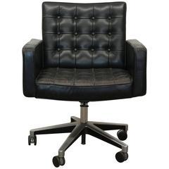 Vintage Vincent Cafiero for Knoll Black Leather Swivel Desk Armchair