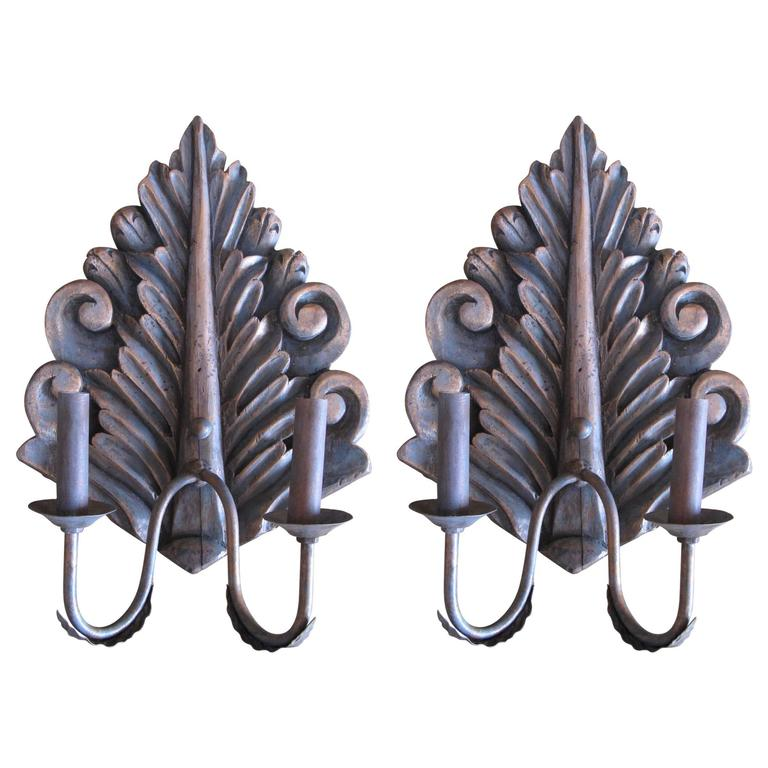 Pair of Hand-Carved Sconces For Sale