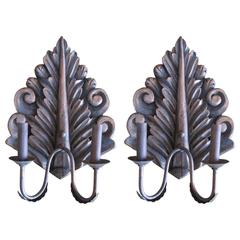 Pair of Hand-Carved Sconces