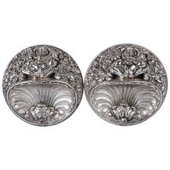 Pair of Silver Plate Curtain Tiebacks