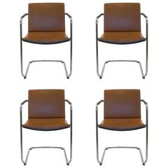 Four Brown Leather Neos 183/3 Cantilever Chair, Wiege for Wilkhahn Germany, Set