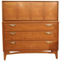 1950s Red Lion Front Mahogany Five-Drawer Dresser