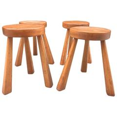 Set of Four Charlotte Perriand Stools for Les Arcs