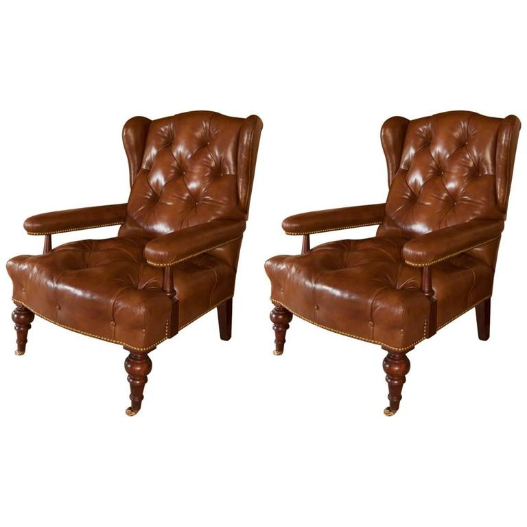 Pair of David Easton Tufted Leather Library Armchairs