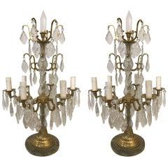 Pair of Louis XVI Style Bronze Candelabras
