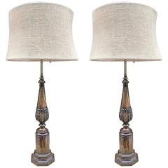 Pair of Regency Style Rosewood Finish Lamps