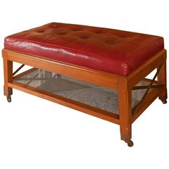 David Easton Walnut and Red Leather Ottoman Coffee Table
