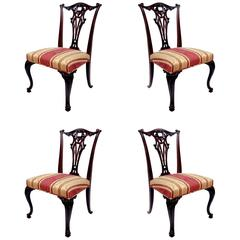 Set of Four 19th Century English Mahogany Chippendale Side Chairs