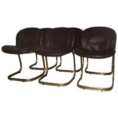 Massive Brass Gold Leather Minimal Chairs Gastone Rinaldi for RIMA, 1970s brown