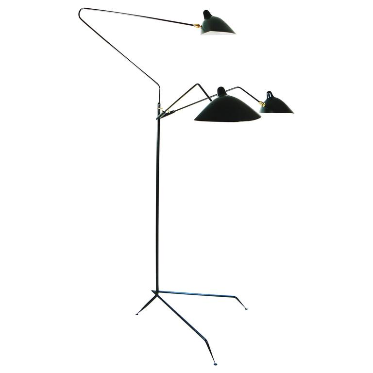 Serge Mouille Three Rotating Arms Floor Lamp