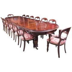 Vintage Victorian Mahogany Dining Table 14 Balloon Back Chairs
