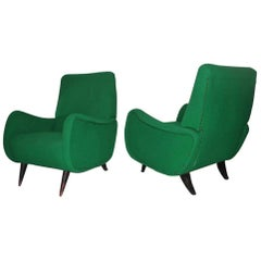 Pair of Italian Mid-Century Design Armchairs Green Wood Feat Paolo Buffa