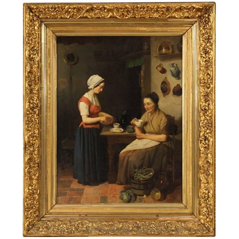 19th Century Dutch Interior Scene Painting Oil On Cardboard For Sale