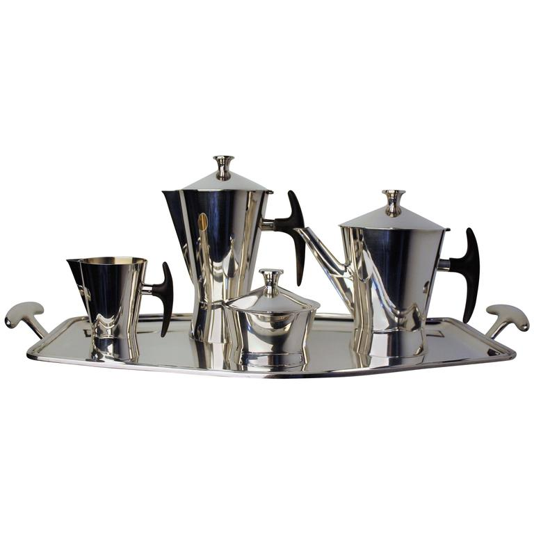 1950s Avant-Garde Silver Plated Coffee Tea Set