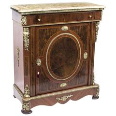 Victorian Style Burr Walnut Pier Cabinet Marble-Top