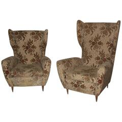 Mid-Century Modern Pair Of Armchairs Him and Her High Back 1950