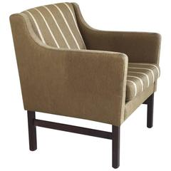 Danish 1970s Mid-Century Khaki Pinstripe Occasional Chair
