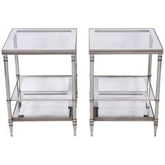 Pair of Mid-Century French Metal Side Tables
