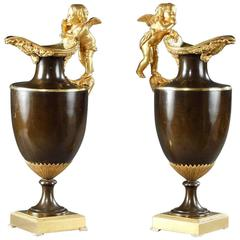 Pair of Late 18th Century Gilt and Patinated Bronze Ewers
