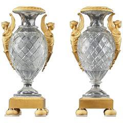 Pair of Charles X Cut Crystal and Ormolu Medici Vases
