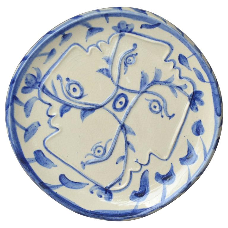 Pablo Picasso Madoura Ceramic Plate Four Enlaced Profiles, 1949