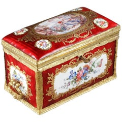 Mid-19th Century Red Enameled Keepsake Box with Mythological Scene